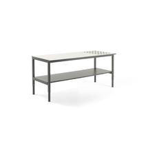 Pracovní stůl Cargo, s kuličkami a spodní policí, 2400x750 mm, bílá deska, šedý