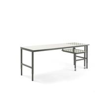 Pracovní stůl Cargo, s kuličkami a výsuvnou desku, 2400x750mm, bílá deska, šedý