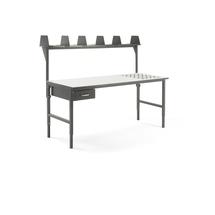 Pracovní stůl Cargo, s kuličkami, 2000x750 mm, 1 zásuvka + vrchní police