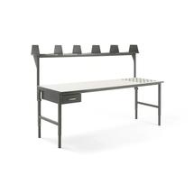 Pracovní stůl Cargo, s kuličkami, 2400x750 mm, 1 zásuvka + vrchní police