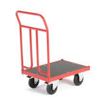 Plošinový vozík, 700x500mm, gumová kola, s brzdou