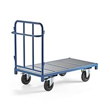 Plošinový vozík, 1 stěna, 1300x700 mm, 600 kg, modrý