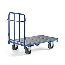 Plošinový vozík, 1 stěna, 1300x700 mm, 1200 kg, modrý