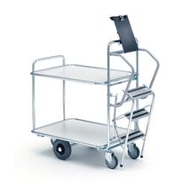 Vychystávací vozík Commute, se schůdky, 850x620 mm