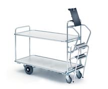 Vychystávací vozík Commute, se schůdky, 1250x620 mm