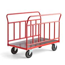Plošinový vozík, 2 stěny, 1200x700 mm, pneumatická kola, bez brzd