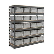 Skladový regál s 20 přepravkami (20x 44 l)