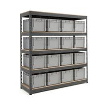 Skladový regál s 16 přepravkami (16x 62 l)