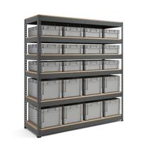 Skladový regál s 20 přepravkami (12x 32 l a 8x 62 l)