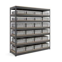 Skladový regál s 24 přepravkami (8x 21 l a 16x 32 l)