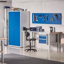Dílenská skříň, 1900x1020x500 mm, bílá/modrá