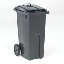 Nádoba na tříděný odpad Edward, 190 l, víko ve víku, šedá/černé víko