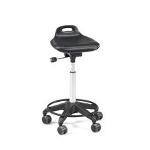 Dílenská stolička Peyton, PU sedák, kolečka, opěrný kruh, 600-790 mm