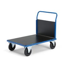 Plošinový vozík, 1000x700 mm, 1 čelní stěna, gumová kola