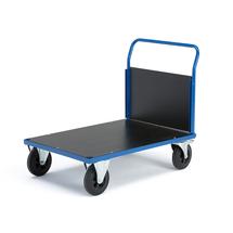 Plošinový vozík, 1000x700 mm, 1 čelní stěna, gumová kola s brzdou