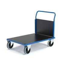 Plošinový vozík, 1000x700 mm, 1 čelní stěna, superelastická kola