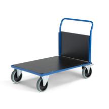 Plošinový vozík, 1000x700 mm, 1 čelní stěna, superelastická kola s brzdou