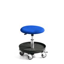 Pracovní stolička, modrá, 360-480 mm, čalouněný sedák