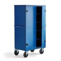 Mobilní kovová skříň, uzamykatelná, 1800x1000x600 mm, modrá