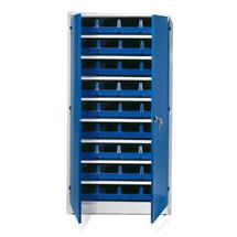 Kovová skříň s 36 plastovými boxy, 1900x1000x400 mm, modré boxy