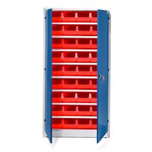 Kovová skříň s 36 plastovými boxy, 1900x1000x400 mm, červené boxy