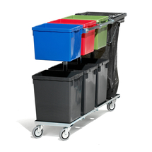 Vozík na 6 nádob, 1200 mm, držák na odpadkový pytel
