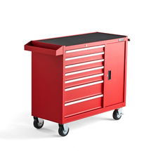 Vozík na nářadí, 7 zásuvek, 1045x460x810 mm, červený