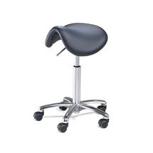 Sedlová židle Derby Flex, koženkový potah, černý