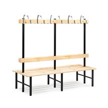 Šatní lavička s věšákem Stadium, oboustranná, 24 háčků, 2000 mm, borovice