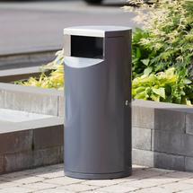 Odpadkový koš Lennox, Ø 400x860 mm, 100 l, šedý