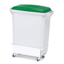 Nádoba na tříděný odpad, 60 l, šedá, zelené víko + vozík