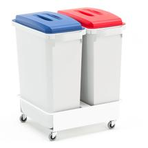 Set: 2x koš na tříděný odpad, 60 l, červené a modré víko + vozík