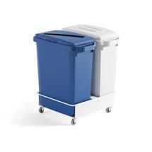 Sada: 2 odpadkové koše 60 l, šedý a modrý + vozík