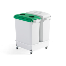 Sada: 2 odpadkové koše 60 l, zelené a šedé víko + vozík