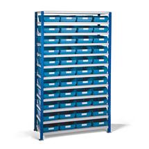 Regál se skladovými nádobami, 1740x1000x300 mm, modré boxy