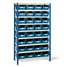 Regál se skladovými nádobami, 1740x1000x500 mm, modré boxy