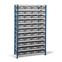 Regál se skladovými nádobami, 1740x1000x400 mm, šedé boxy