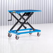 Manuální zvedací stůl, 950x600 mm, 300 kg, modrý
