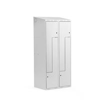 Šatní skříňka Classic Z, šikmá střecha, 2 sekce, 4 dveře, 1900x800x550 mm, šedé dveře