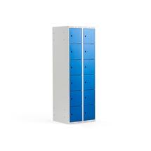 Šatní skříňka, 2 sekce, 12 boxů, 17970x600x550 mm, šedá/modrá