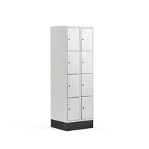 Šatní skříňka Classic, se soklem, 2 sekce, 8 boxů, 1890x600x550mm, šedé dveře
