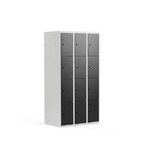Šatní skříňka, 3 sekce, 12 boxů, V 1740 x Š 900 x H 550 mm, šedá/černé dveř