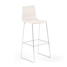 Barová židle Filip, výška 830 mm, chrom, bílá