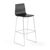Barová židle Filip, výška 830 mm, chrom, černá