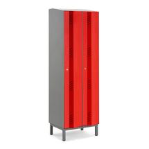 Šatní skříň Create Energy, 2 sekce, 1985x600x500mm, červené dveře, vč. noh