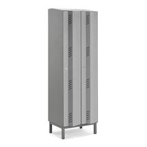 Šatní skříň Create Energy, 2 sekce, 1985x600x500 mm, šedé dveře, vč. noh
