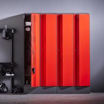 Šatní skříň Create Energy, 2 sekce, 1985x800x500mm, červené dveře, vč. noh