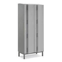 Šatní skříň Create Energy, 2 sekce, 1985x800x500mm, šedé dveře, vč. noh