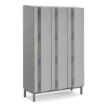 Šatní skříň Create Energy, 3 sekce, 1985x1200x500mm, šedé dveře, vč. noh