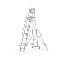 Hliníkový žebřík s plošinou a kolečky, 14 příček, výška 3500 mm